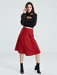 Women's Formal Boho Skater Dress,Print Round Neck Midi ¾ Sleeve Polyester Spring Summer Mid Rise Micro-elastic Medium