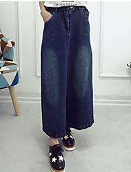 Women's Midi Skirts A Line Denim Solid