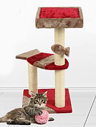 Игрушка для котов Игрушки для животных Интерактивный Прочный Когтеточка Дерево Плюш Красный