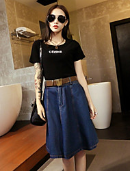 Women's Knee-length Skirts A Line Denim Solid