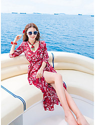 Women's Going out Simple Loose Dress,Floral V Neck Maxi Long Sleeve Rayon Summer High Rise Inelastic Thin