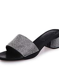 Women's Sandals Summer Slingback Leatherette Outdoor Dress Casual Chunky Heel Rhinestone Sliver Black Gold Walking