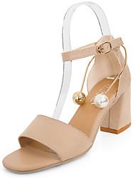 Women's Sandals Comfort PU Summer Casual Walking Comfort Beading Low Heel Black Beige 2in-2 3/4in
