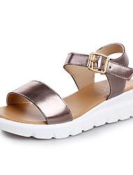 Damen-Sandalen-Lässig-PUKomfort-Gold Schwarz Silber