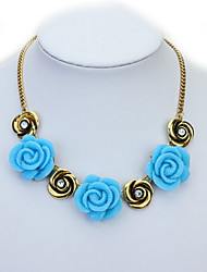 Lovely Lady Rose Euramerican Africa Hypoallergenic Flower Statement Strands Collar Choker Rhinestone Necklaces