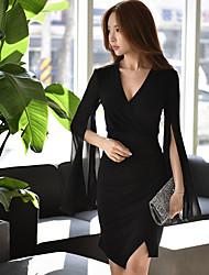 Damen Hülle Das kleine Schwarze Chiffon Kleid-Ausgehen Party/Cocktail Klub Sexy Street Schick Anspruchsvoll Solide Tiefes VÜbers Knie