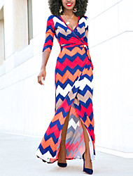 Women's Going out Party Club Sexy Simple Street chic Sheath DressGeometric Color Block Split Wave National Style Deep V Maxi  Length Sleeve Spring