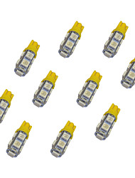 10pcs t10 9 * 5050 smd conduit voiture ampoule jaune lumière dc12v