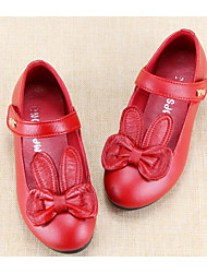 Girls' Flats Spring Fall First Walkers Leather Outdoor Casual Walking Low Heel Magic Tape Screen Color Red Black