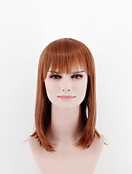 Fashion ladies long wigs dark brown straight straight bangs high temperature wire wigs