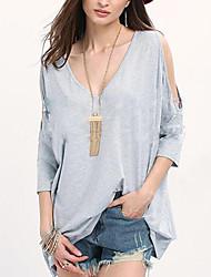 Damen Solide Sexy Ausgehen T-shirt,V-Ausschnitt ¾-Arm Baumwolle