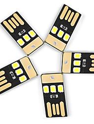 Ywxlight® 5pcs 0.5w 3led 5v 2835smd 22lm ampoules usb usb pour ordinateur portable pc banque d'énergie lampe blanche mini lampe de poche