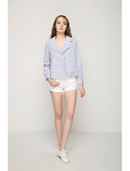 Damen Gestreift Sexy Einfach Street Schick Ausgehen Lässig/Alltäglich T-shirt,V-Ausschnitt Sommer Herbst Langarm Baumwolle Mittel