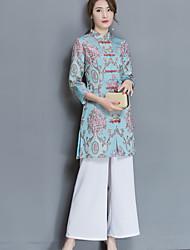Feminino Camisa Calça Conjuntos Casual SimplesEstampado Colarinho Chinês