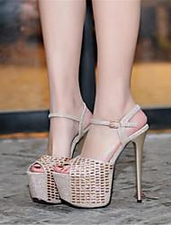 Damen-High Heels-Lässig-PUKomfort-Schwarz Silber