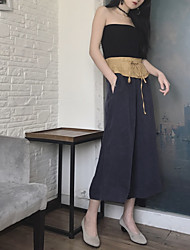 Women's Low Rise Micro-elastic Chinos Pants,Simple Loose Wide Leg Solid