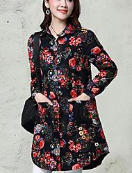 Chemise Femme,Fleur Décontracté / Quotidien simple Manches Longues Col de Chemise Lin