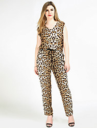 Really Love Women's High Rise Going out Casual/Daily Holiday Jumpsuits,Sexy Vintage Street chic Straight Slim Knitting Sexy Leopard All Seasons
