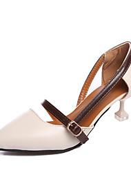 Women's Sandals Summer Comfort PU Outdoor Walking Low Heel Buckle Dark Brown Beige