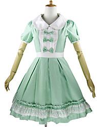 Uma-Peça/Vestidos Doce Rococo Cosplay Vestidos Lolita Xadrez Pétala Manga Curta Longuete Vestido Para Algodão
