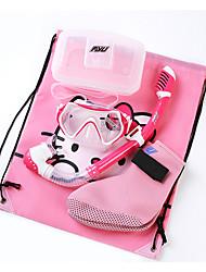 Fins de Mergulho Máscaras de mergulho Snorkels Bolsas Impermeáveis Kit para Snorkel Protecção Neoprene Fibra de Vidro SiliconeVermelho