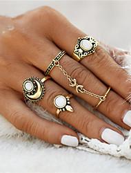 Mittelfingerring Ring Opal Einzigartiges Design Geometrisch Kreis Modisch Vintage Punkstil Euramerican Simple Style Edelstein OpalOvale