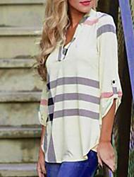 Для женщин На каждый день Осень Рубашка V-образный вырез,Уличный стиль Полоски Хлопок