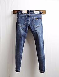 Men's High Rise Micro-elastic Jeans Pants,Punk & Gothic Slim Solid