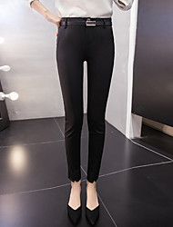 Women's High Rise Micro-elastic Business Pants,Simple Slim Solid
