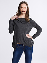 Damen Solide Einfach / Street Schick Ausgehen / Lässig/Alltäglich T-shirt,Asymmetrisch Frühling / Herbst LangarmBlau / Rosa / Grau / Grün