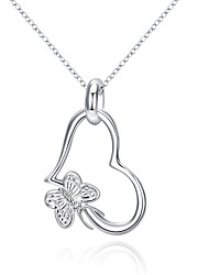 XU Women's The Butterfly Hanging Heart Pendant Contracted Silver Pendant
