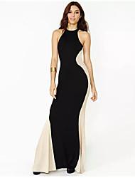 Damen Bodycon Hülle Kleid-Ausgehen Lässig/Alltäglich Einfach Street Schick Solide Einfarbig Gurt Maxi Ärmellos Seide BaumwolleSommer