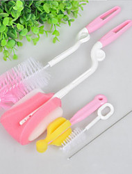 5Pcs/Set   Sponge Plastic Glass Milk Water Newborn Baby Bottle Brush Feeding Nipple Straw Mother Kids Products Accessories