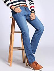 Homme Vintage simple Chinoiserie Taille Normale non élastique Jeans Chino Pantalon,Droite Couleur unie Mince Toile de jean Couleur Pleine