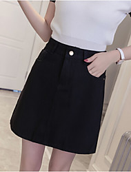 Women's High Rise Mini Skirts,Sexy Trumpet/Mermaid Denim Solid