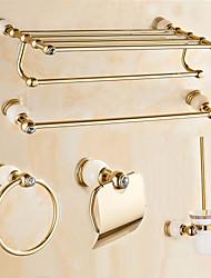 Contemporary Cream Stone Gold Brass 5PCS Bathroom Accessory Set  Towel Shelf Towel Bar Towel Ring Brush Paper Holder