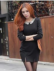 * Col de plaquette de mode stock mince robe noire