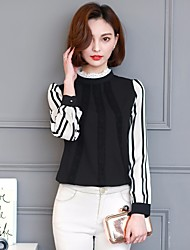 Women's Going out Casual/Daily Work Simple Blouse,Striped Stand Long Sleeve Others