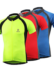 Arsuxeo Cycling Jersey Men's Short Sleeve Bike Quick Dry Front Zipper Soft Held-In Sensation Reflective Trim/Fluorescence JerseySpandex