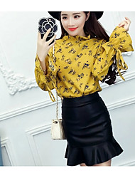 Women's Going out Work Cute Spring Blouse Skirt Suits,Floral Stand Long Sleeve Rayon
