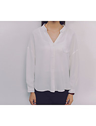 Women's Going out Sexy Blouse,Solid V Neck Long Sleeve Cotton Modal Bamboo Fiber