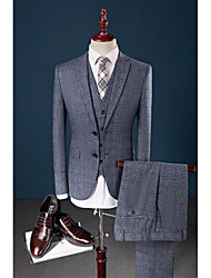 Blue Checkered Single Breasted Two-buttons Flat collar Polyester/Rayon(T/R) Three-Pieces Slim Fit Suit