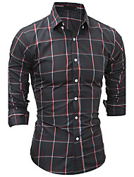 Men's New Fashion Classic Style Plaid Slim Fit Long Sleeve Casual Shirt/ Cotton /Polyester/Work