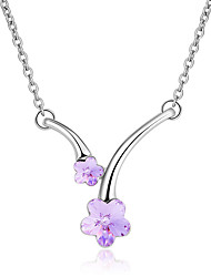 Women's Pendant Necklaces Crystal Chrome Flower Style Euramerican Fashion Personalized Light Green Light Blue Red Rose Red Purple Jewelry