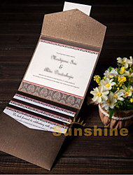 Tri-Fold Wedding Invitations 50-Invitation Cards Pearl Paper Seal