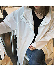 Women's Casual/Daily Simple Spring Fall Trench Coat,Solid Hooded Long Sleeve Long Polyester