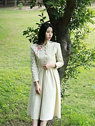 Balançoire Robe Femme Sortie Décontracté / Quotidien Vintage Chinoiserie,Couleur Pleine Broderie Mao Midi Manches Longues CotonPrintemps