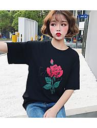 Dames Eenvoudig T-shirt,Nette schoenen Effen Bloemen Ronde hals Driekwart mouw Katoen