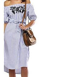 2017 novos listras verticais Mulheres vestido elásticas bordado&# 39; s rendas colarinho vestido simples quinto manga