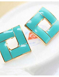 Korean Style Sweet Candy Color  Square Studs Joker Earrings Girl Daily Gift Jewelry